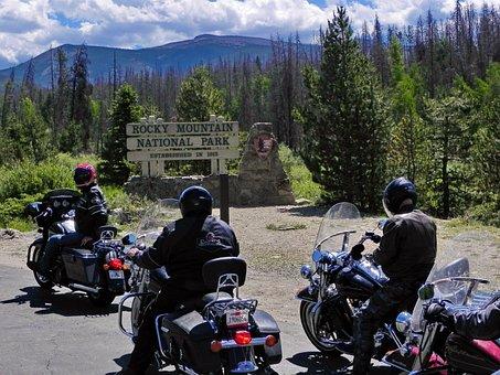 Rocky Mountains, National Park, Harley Davidson