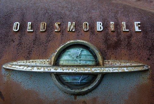 Olds Rocket 88, Oldsmobile, Car Badge, Chrome, Rust