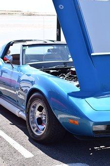Corvette Blue Car, Car, M, Blue, Vintage, Retro, Show