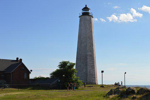Lighthouse, New Haven, Sky, Connecticut, Beach