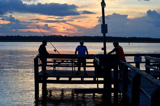 People, Fishing, Pier, Sunset, Sky, River, Outdoors