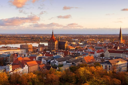 Rostock, City, Sunrise, Building, Sky, Germany, Morning