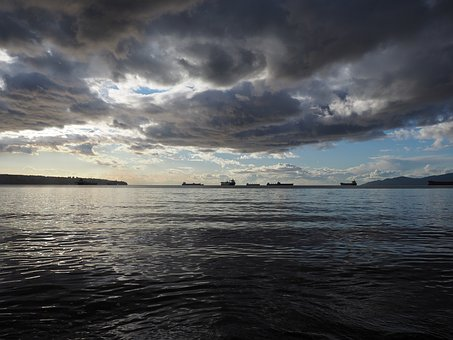 Ships, Vancouver, Stanley Park, Canada, Water, Coast