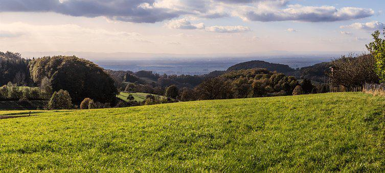 Panorama, Odenwald, View, Rhine Valley, Landscape, Sky