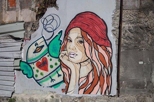 Graffiti, Woman, Color, Work Of Art, Art, Tough