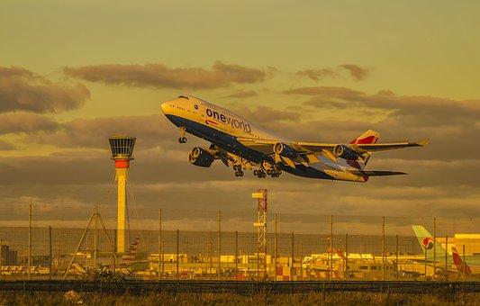 British, Airline, Airplane, Tower, Takeoff, Airport