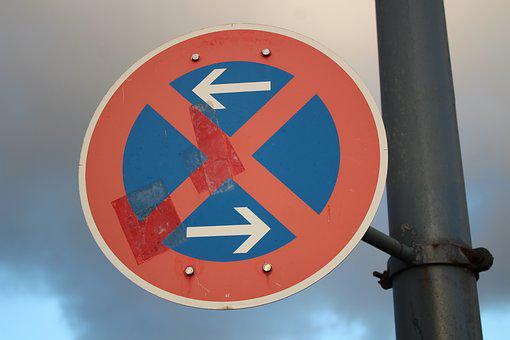 Traffic Sign, About, Shield, Blue, Red, Arrow, Traffic