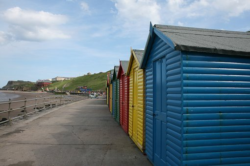 Whitby, Beach, Beach Huts, Yorkshire, Summer, Seaside