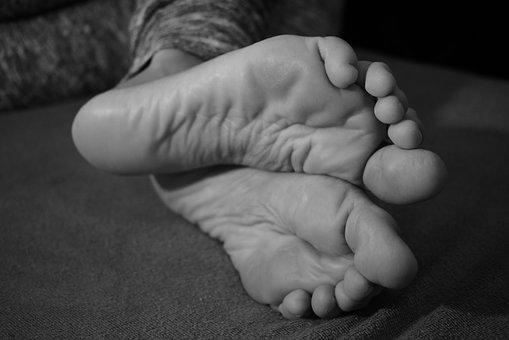 Feet, Barefoot, Soles Of The Feet, Black And White