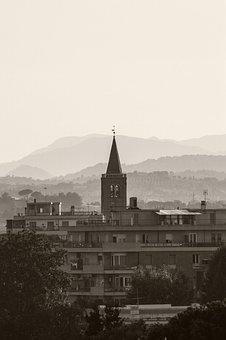 Church, Mountains, Rimini, Holiday, Building, Steeple