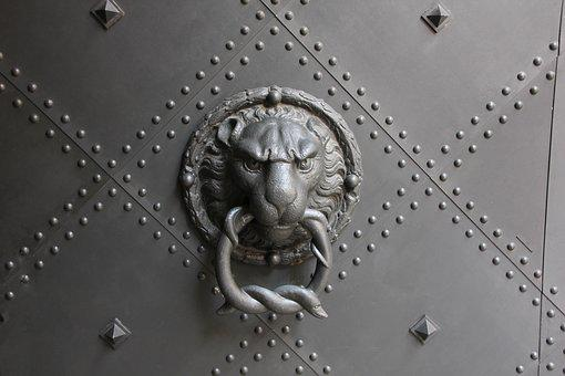 Door, Thumper, Handle, Old, Doorknocker, Metal, Input