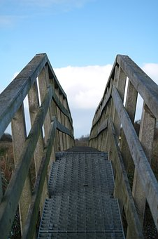 Wooden Bridge, Web, Away, Transition, Nature, Water