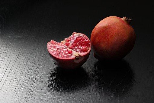 Pomegranate, Darkroom, Fruit, Black, Garnet, Red, Still