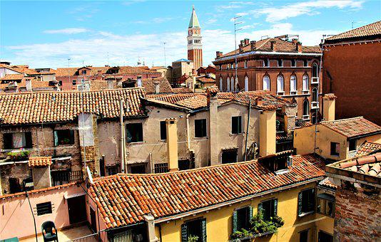 Venice, Italy, Architecture, Buildings, Rooftops, Roof
