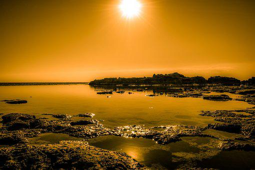 Sunset, Sun, Rocky Coast, Sea, Lagoon, Reflections