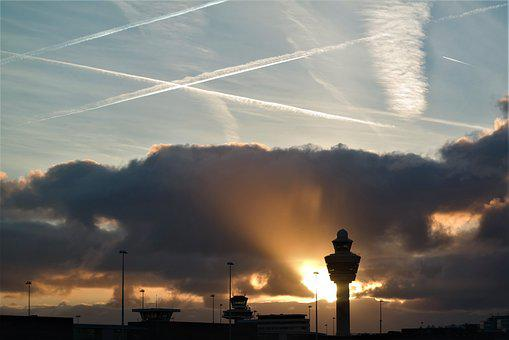 Lichtspiel, Sun, Sky, Silhouette, Tower, Contrail
