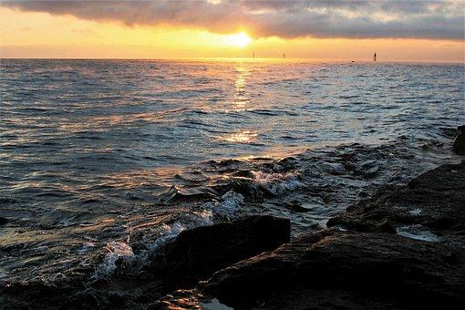 Dawn, Wind, Sunrise, Rocks, The Waves, Sun, Lake