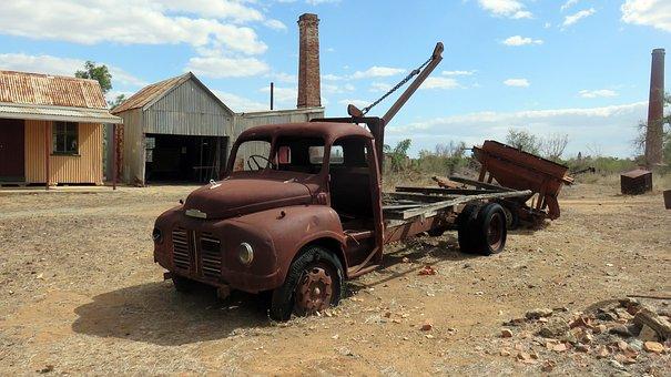 Truck, Rusty, Mine, Outback, Australia, Transportation