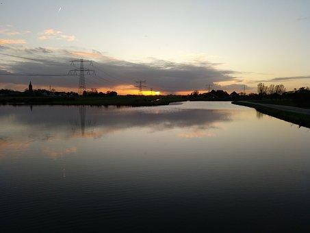 View, Sun, Dawn, Cloud, Water, Lake, Dark, Shadow