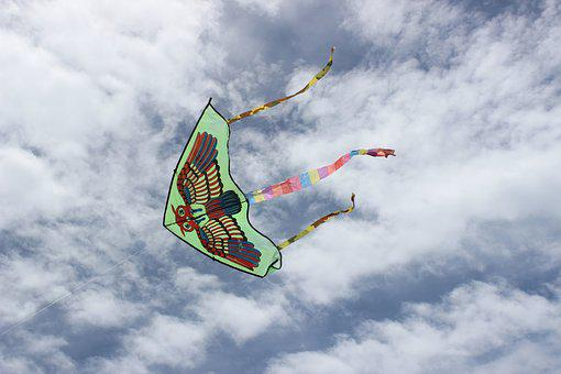 Kite, Wind, Sky, Clouds, Owl, Child Playing, Pope-winds