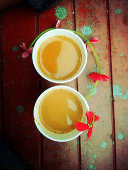 Tea, Break, Flower, Decoration, Chair, Wooden, Cups