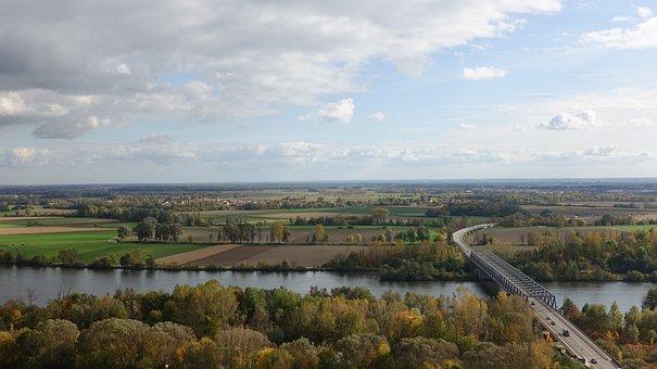 Danube, River Landscape, Road Bridge, Autumn