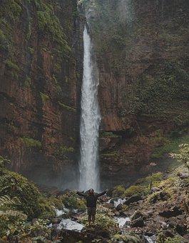 Indonesian, Fog, Waterfall, Mount, Guy, Bacpacker