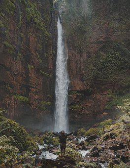 Indonesian, Fog, Waterfall, Mount, Guy, Bacpacker