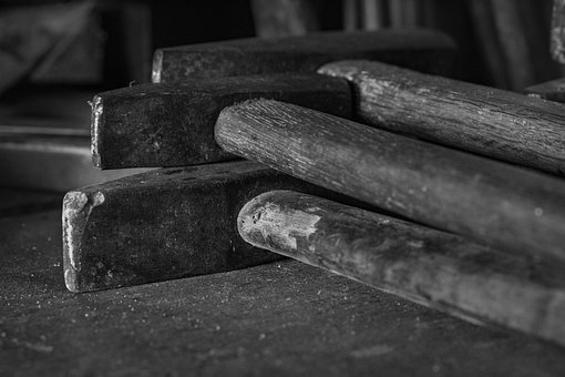 Hammers, Used Hammers, Old Hammers, Black And White