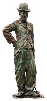 Charlie Chaplin, Statue, Bronze, Clown, Old, Melon