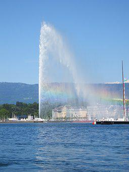 Jet D'eau, Geneva, Waterspout, Rainbow, Jet, Water