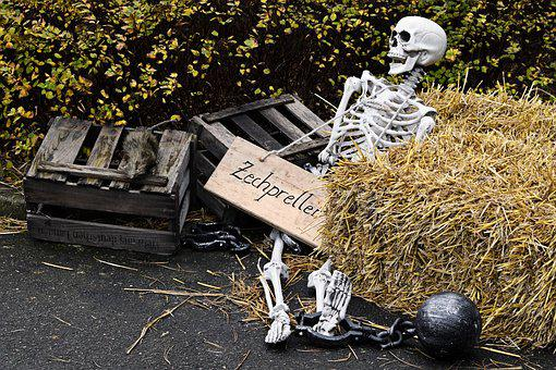Skeleton, Hay Bales, Trouble With A Bill, Iron Ball