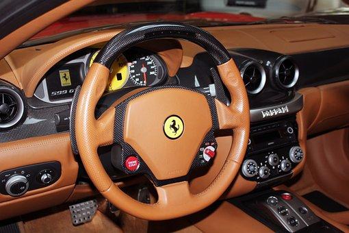 Ferrari, Steering Wheel, Car, Dashboard, Auto, Interior