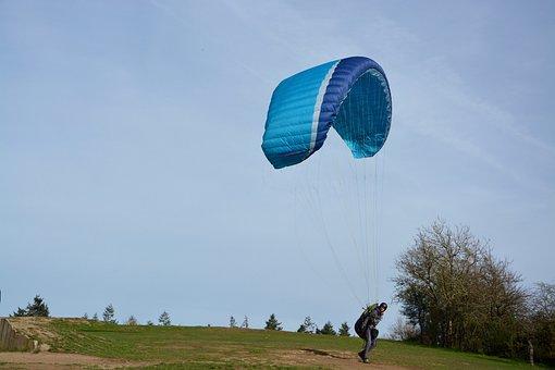 Paragliders, Practice In Free Flight, Takes His Flies