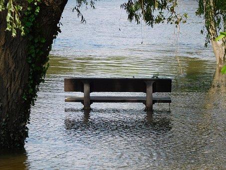 Bench, River, Flood