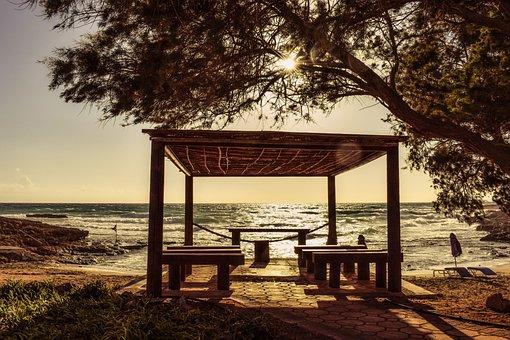 Beach, Afternoon, Kiosk, Sea, Sun, Sunlight, Sunbeam