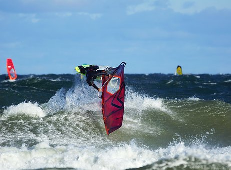 Wind Surfing, Wave, Goiter, Beach, Sea