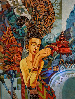 Art, Woman, Traditional, Myanmar, Burmese, Painting