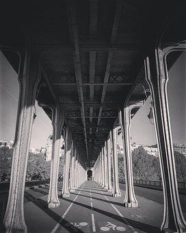 Bridge, Bir-hakeim, Paris, Black, White, France