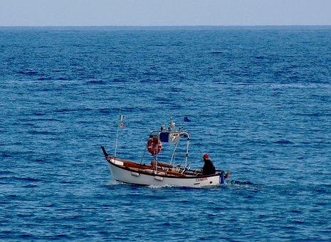 Sea, Liguria, Summer, Fisherman, Boat, Ship