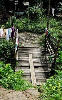 Village, Bridge, Wooden, Myanmar, Burma, Wood