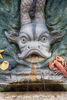 Fountain, Fish, Cancer, Starfish, Shell, Water