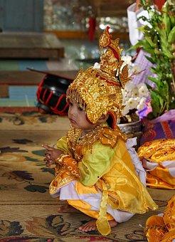 Children, Child, Buddhist, Ceremony, Myanmar, Burma