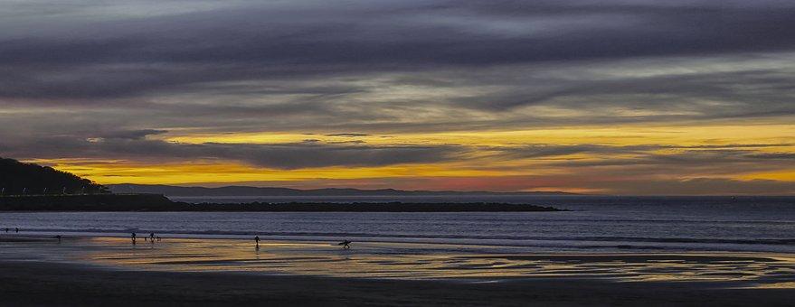 Beach, Zurriola, San Sebastian, Sea, Sky Clouds, Colors