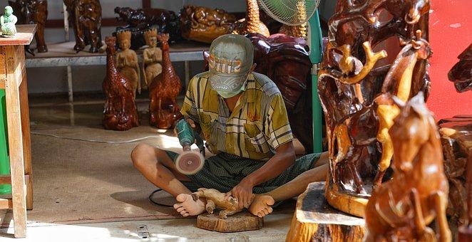 Wood, Carving, Myanmar, Burma, Craft, Traditional