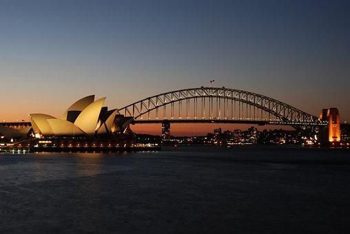 Australia, Sunset, Sydney, Opera, Harbour Bridge, Dusk
