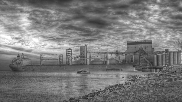 Hdr, Black And White, Boat, Large Ships