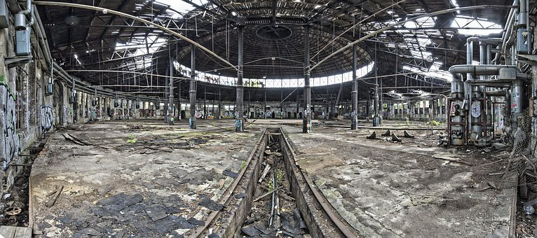 Berlin, Pankow, Lost Place, Locomotive Shed, Broken