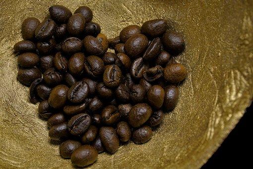 Coffee, Heart, Gold, Coffee Beans, Brown, Love