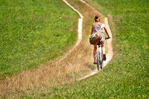 Cyclists, Away, Meadow, Bike, Leisure, Cycling, Cycle